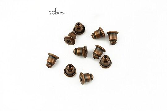 Stoppere metalice cupru pentru cercei (20buc.)