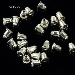 Stoppere metalice argintii pentru cercei (20buc.)