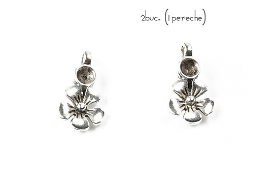 Baza cercei cu surub argintiu antichizat, floare (2 buc.)