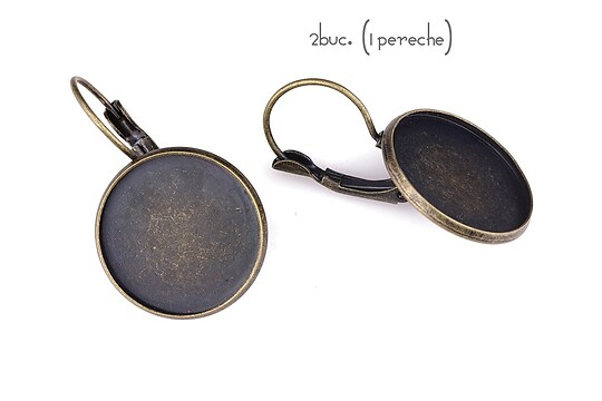 Baza cercei bronz 32x20mm, platou 18mm (2 buc.)