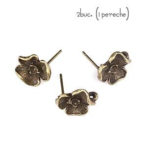 Baza cercei cu surub, floare bronz (2 buc.)