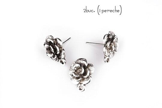 Baza cercei cu surub, trandafir argintiu antichizat (2 buc.)