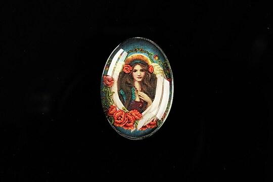 "Cabochon sticla 25x18mm ""Antique Goddess"" cod 405"