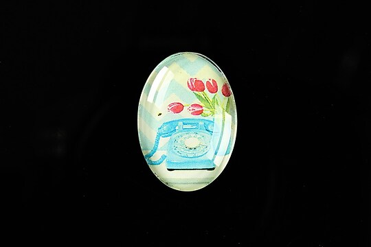 "Cabochon sticla 25x18mm ""Flower Bouquet"" cod 410"
