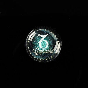 "Cabochon sticla 18mm ""Zodiac Signs"" capricorn cod 428"