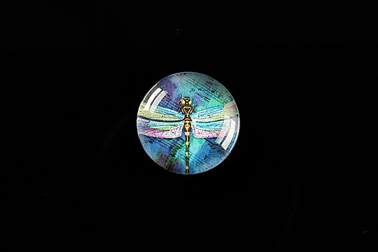 "Cabochon sticla 18mm ""Colourful Dragonfly"" cod 432"