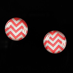 "Cabochon sticla 14mm ""Polka Doted Line"" cod 438"