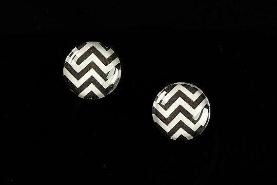"Cabochon sticla 14mm ""Polka Doted Line"" cod 439"