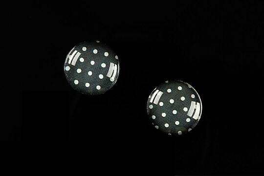 "Cabochon sticla 14mm ""Polka Doted Line"" cod 440"