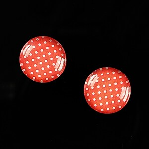 "Cabochon sticla 14mm ""Polka Doted Line"" cod 441"