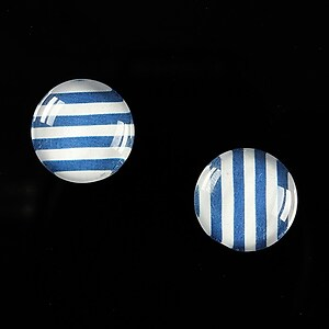 "Cabochon sticla 14mm ""Polka Doted Line"" cod 443"