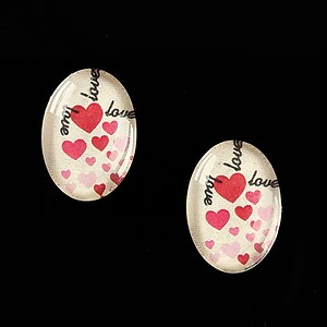"Cabochon sticla 18x13mm ""All about love"" cod 449"