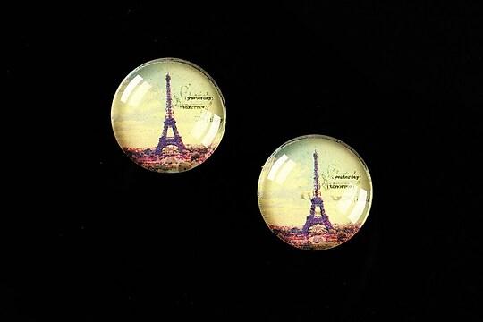 """Cabochon sticla 16mm """"Le Tour Eiffel"""" cod 456"""