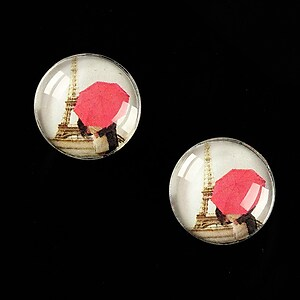 "Cabochon sticla 16mm ""Under Umbrella"" cod 461"