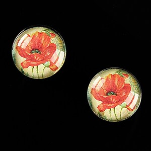 "Cabochon sticla 16mm ""Red Poppy"" cod 462"