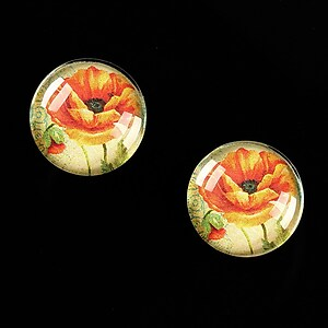 "Cabochon sticla 16mm ""Red Poppy"" cod 463"