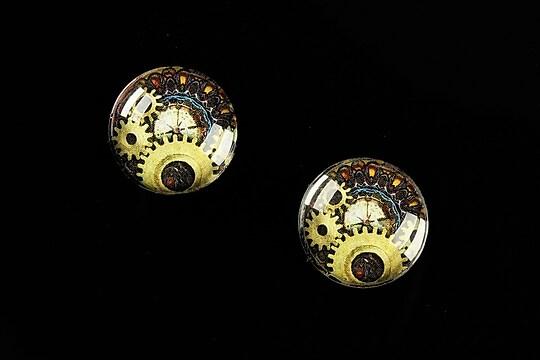 """Cabochon sticla 16mm """"Clock Mechanism"""" cod 468"""