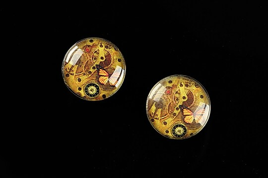 "Cabochon sticla 16mm ""Clock Mechanism"" cod 469"