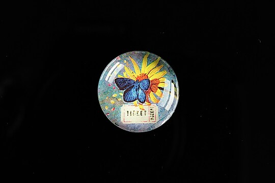"""Cabochon sticla 20mm """"'Forever Butterfly"""" cod 498"""