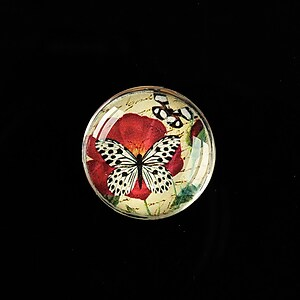 "Cabochon sticla 20mm ""'Forever Butterfly"" cod 499"