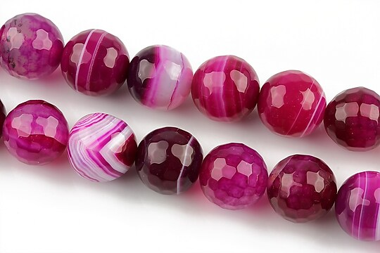 Agate stripped fatetate sfere 12mm - fucsia