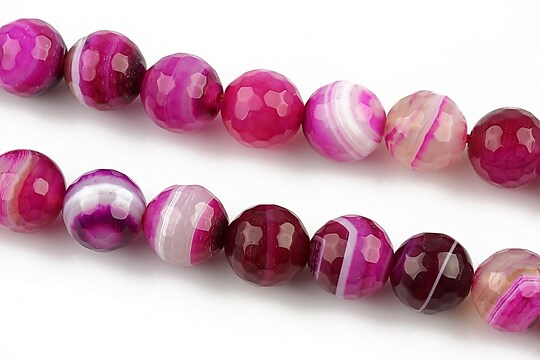 Agate stripped fatetate sfere 10mm - fucsia