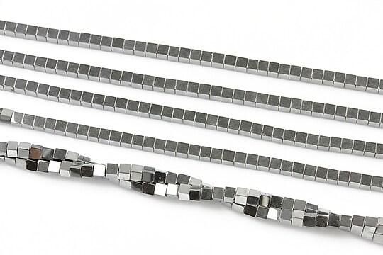 Hematit electroplacat cub 2mm - argintiu inchis