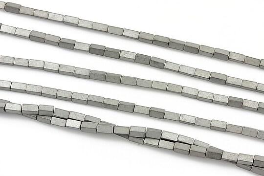 Hematit electroplacat dreptunghi 4x2mm - argintiu mat