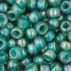 Margele Toho rotunde 8/0 - Inside-Color Rainbow Lt Sapphire/Opaque Teal Lined