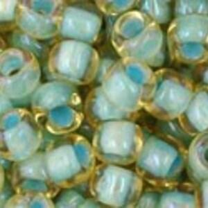 Margele Toho rotunde 6/0 - Inside-Color Rainbow Lt Topaz/Sea Foam Lined
