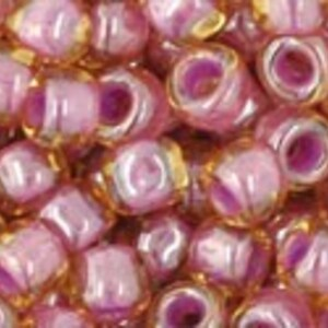 Margele Toho rotunde 6/0 - Inside-Color Lt Topaz/Pink Lined