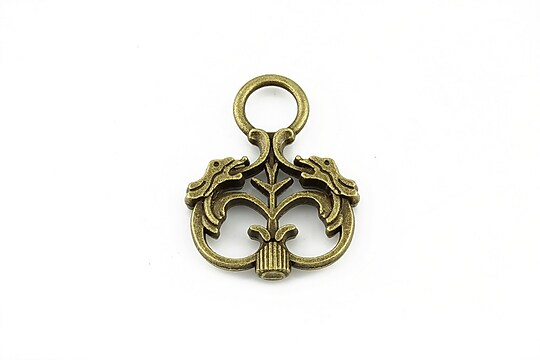 Charm bronz model cu dragoni 28x22mm