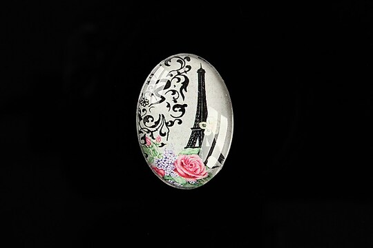 "Cabochon sticla 25x18mm ""Love Story"" cod 478"