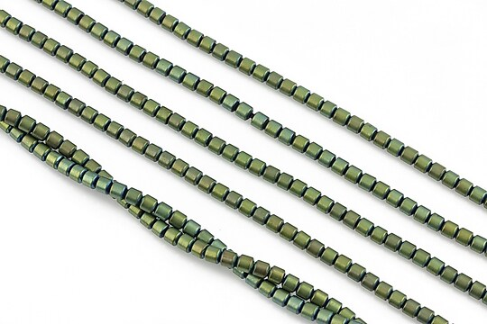 Hematit electroplacat tub 3x2mm - verde mat