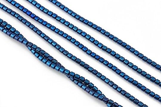 Hematit electroplacat tub 3x2mm - albastru