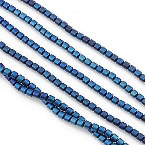 Hematit electroplacat tub 3x2mm - albastru mat