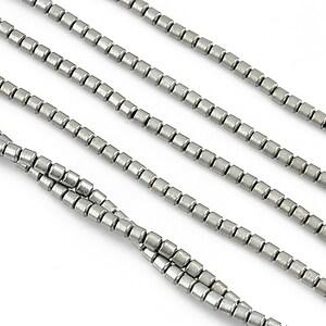 Hematit electroplacat tub 3x2mm - argintiu mat