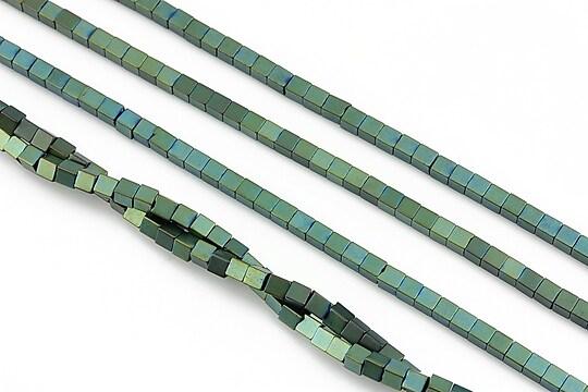Hematit electroplacat cub 2mm - verde mat
