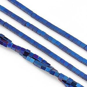Hematit electroplacat cub 2mm - albastru mat