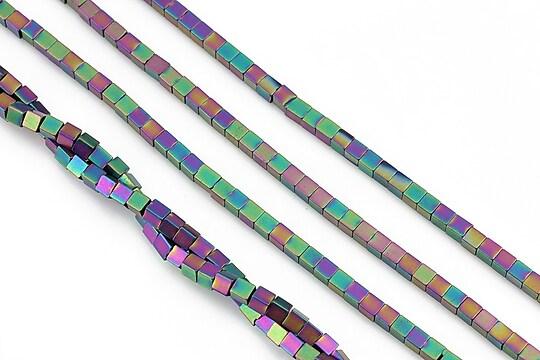 Hematit electroplacat cub 2mm - multicolor mat