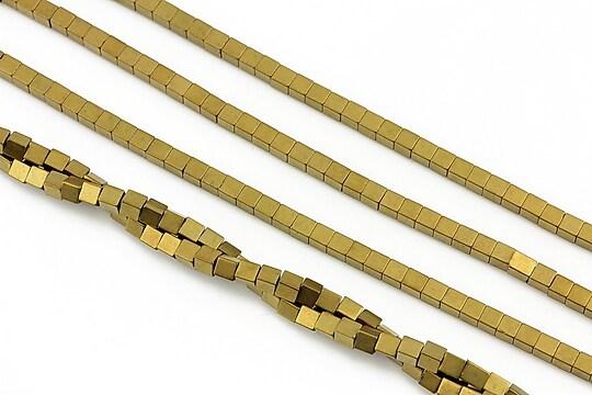Hematit electroplacat cub 2mm - auriu mat