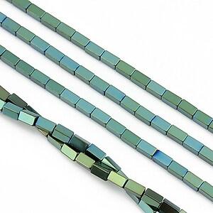 Hematit electroplacat dreptunghi 4x2mm - verde