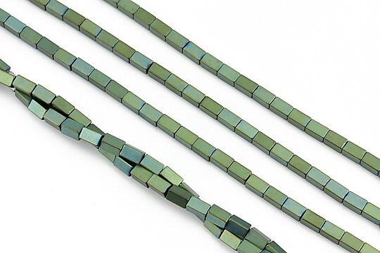 Hematit electroplacat dreptunghi 4x2mm - verde mat