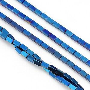 Hematit electroplacat dreptunghi 4x2mm - albastru