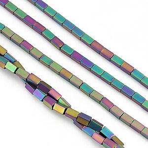 Hematit electroplacat dreptunghi 4x2mm - multicolor mat