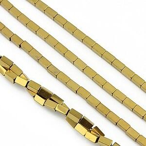 Hematit electroplacat dreptunghi 4x2mm - auriu