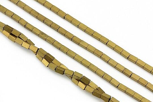 Hematit electroplacat dreptunghi 4x2mm - auriu mat