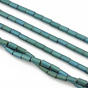 Hematit electroplacat tub 5x3mm - verde-turcoaz mat