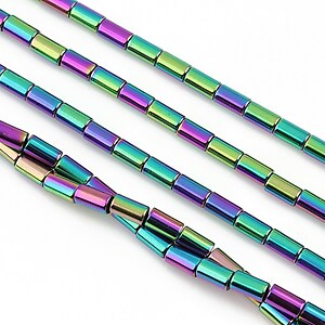 Hematit electroplacat tub 5x3mm - multicolor