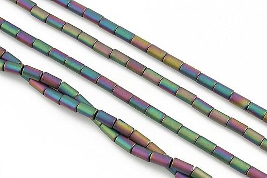 Hematit electroplacat tub 5x3mm - multicolor mat